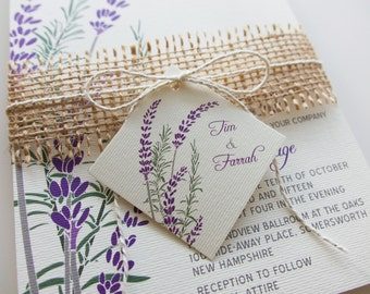 purple lavender wedding invitations burlap twine and tag rustic lavender and rosemary herb wedding