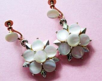Vintage Mother of Pearl Earrings screw backs
