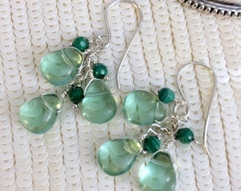 40% SALE Green Dangle Earrings Sterling Silver Wire Wrapped Green Gemstone Earrings Green Malachite Cluster Earrings - Trisha