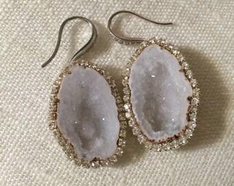 Tabasco Geode Druzy Earrings Ivory Slice Dangle Earrings Ivory Off White Diamond Look Bezel Wedding Earring Beach Wedding - Veronica
