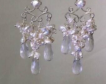Bridal Jewelry Pearl Wedding Chandelier Earrings, Wire Wrap Sterling Silver, Handmade Chandelier Earrings, Luxury Bridal Earrin
