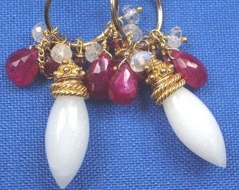 50% OFF SALE Ruby Jewelry White Earring Gold Hoop Earrings Wire Wrap Gold Fill, July Birthstone Ruby Luxury Gemstone Chandelier Earrngs