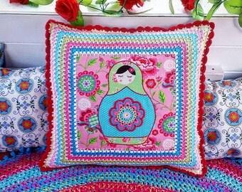 Deep crocheted border Matroyshka Russian Doll cushion, fabric crochet, crocheted flower, Russian Doll cushion, pillow