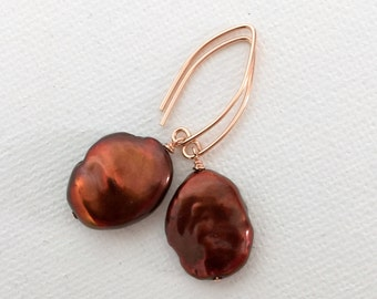 Large Brown Keshi Pearl Earrings with 14k Rose Gold Fill. Keshi Petal Pearls