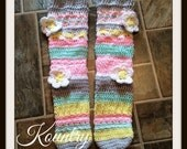 Crochet knee high slipper socks, crochet leg warmers with flowers, Knee High Slipper Socks, Vintage Tube Socks, Knee Sock