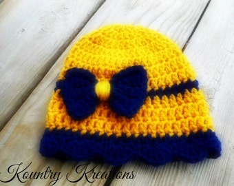 Crochet Hat, Newborn Girl hat, Bow Hat, Infant Hat,Newborn Hat, WVU, Blue and Gold hat, Adult hat, Gift (Ready to Ship)