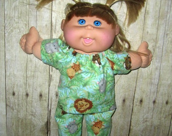 """Cabbage Patch, Doll Clothes, Jungle Babies Pajamas, 14"""" or 15""""  Doll Clothes, Adoptimals Boy or Girl  Dolls, Zebra Slippers Included"""