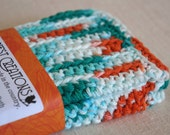 Dish Cloths, Wash Cloths, Cotton - Teal and Orange- Crocheted 3 Piece Set