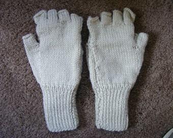 Knitted Ecru Convertible Fingerless Mittens Womens' Small