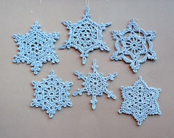 6 Crochet Snowflakes -- Large Snowflake Assortment DB3, in Delft Blue
