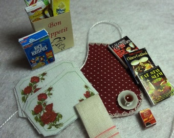 Kitchen Accessories Set with Burgundy Apron and Rose Place Mats
