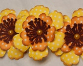 Yellow and Orange Paper Flowers Polka-Dotted with White, Brown centers-Set of 3