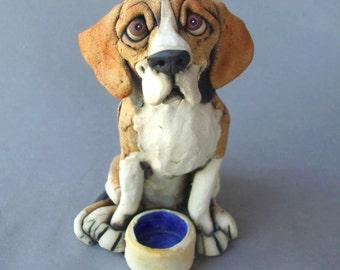 Beagle with Dog Bowl Ceramic Sculpture