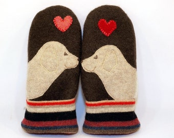 Wool Mittens Sweater Recycled Wool Mittens Labrador Retriever Brown Cream and Red Applique Leather Palm Fleece Lining Eco Friendly Size M/L