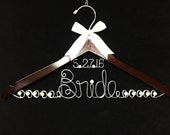 Bride Hanger Personalized with Floating  Date and  JUMBO Letters  Wedding Dress custom wire hanger with pearls
