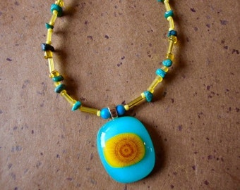 Beaded Fused Glass Sun Pendant by Design4Soul