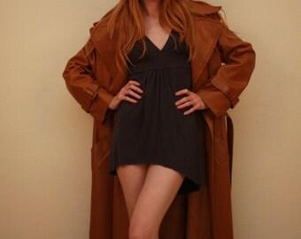 Vintage long brown leather coat Amkor Fashions Size 9/10