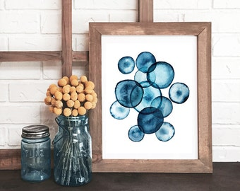 blue and white abstract watercolor print, blue home decor, indigo blue modern watercolor, abstract print, cobalt blue wall decor