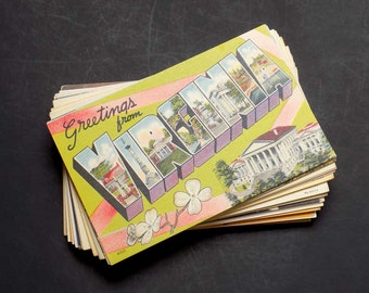 50 Virginia Vintage Postcards Lot - Large Letter, Travel Themed, Wedding Registry (Unused)