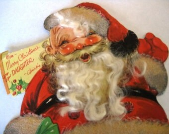 Vintage Santa Christmas Card, Large Card, Santa Has Curly White Beard and Hair, Used, Gibson Card