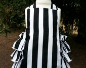 Ruffled Bottom Bubble Romper Sunsuit  in Black and White Stripes for Baby Girls