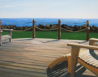 GICLEE Fine Art Reproductions on 8.5x11 PAPER - The Cottage by Daina Scarola (Adirondack chairs, ocean view)