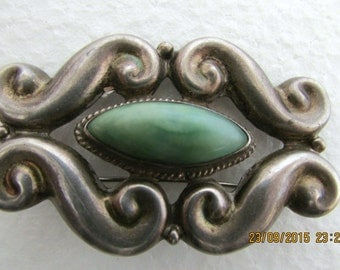 Vintage Sterling Mexican Silver Brooch Art Nouveau Design Mexican Jade Stone Artist Signed