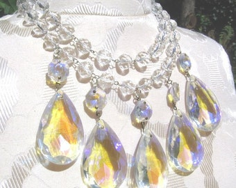 Handmade vintage faceted crystal and aurora borealis teardrop necklace