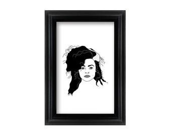 4 x 6 Framed Bellatrix Lestrange / Helena Bonham Carter / Harry Potter portrait