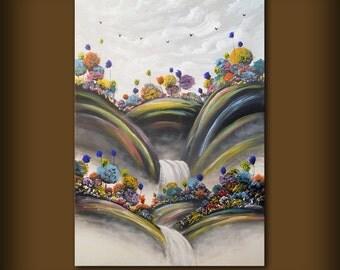 orange blue yellow waterfall lollipop tree painting art abstract landscape original painting 36 inch Mattsart