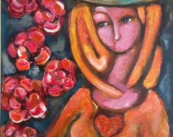"Original Painting Titled ""Wearing Her Orange Hope"" (9x12)"