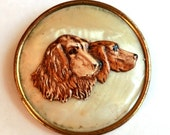 Vintage Celluloid Dogs Brooch Setter Retriever Type Dogs ca 1940