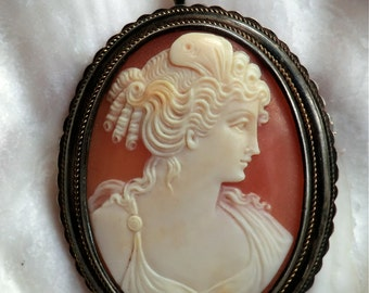 Vintage Silver Vermeil Cameo Pendant and Brooch Beautifully Carved Detail