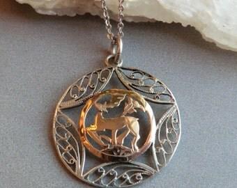 Vintage Silver Art Deco Deer Pendant Sterling Chain Stag Deer Silver Filigree