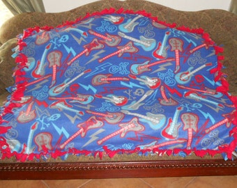 Guitars Skulls on Blue Red Back No Sew Fleece Blanket Fleece Tie Blanket No Sew Throw Knot Tie Blanket 48x60 Approximate size