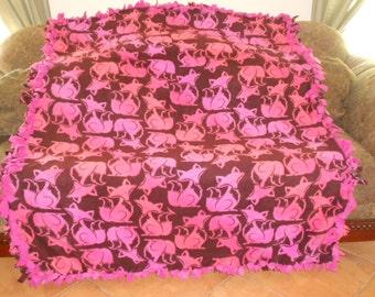 Fox Ombre Hot Pink and Orange on Dark Brown Hot Pink Back Fleece Tie Blanket No Sew Fleece No Sew Throw Blanket Fleece Throw 60x72 Approx.