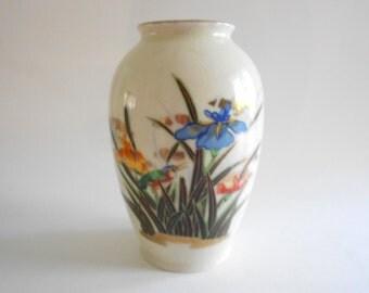 Asian Vase Vintage Vase White Porcelain Iris Flowers Bird Vase Floral Vase Oriental Vase White Vase Crackled Glaze Enamel Paint Home Decor
