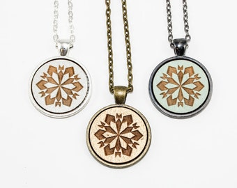 50% off SALE: Snowflake Pendant Necklace - Laser Engraved Wooden Cameo (Custom Made / Any Color)
