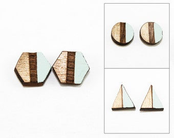 Geometric Two-Tone Wood Post Earrings - Metallic Gold and Aqua - Laser Cut Hand-Painted Studs (Choose Your Shape & Color)