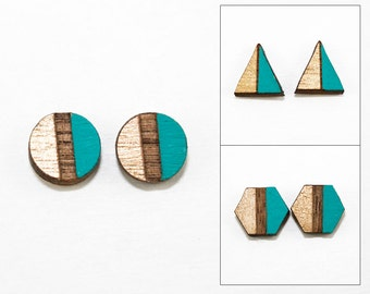 Geometric Two-Tone Wood Post Earrings - Metallic Gold & Turquoise - Laser Cut Hand-Painted (Choose Shape: Triangle, Hexagon, Circle)