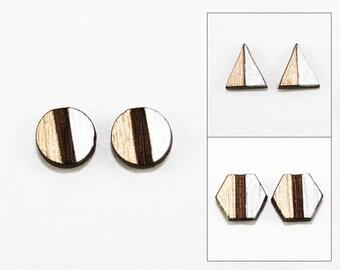 Geometric Two-Tone Wood Post Earrings - Metallic Gold & Silver - Laser Cut Hand-Painted (Choose Shape: Triangle, Hexagon, Circle)