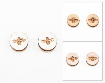 Bee Design - Post Earrings - Laser Cut Wooden Studs (Choose Your Color)
