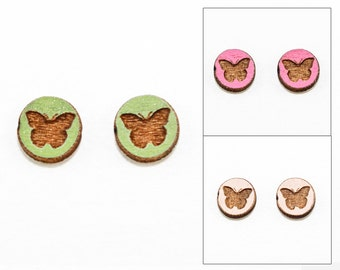 Butterfly Earrings - Laser Cut Wooden Studs (Choose Your Color)