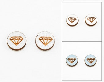 Geometric Faux Diamond Earrings - Laser Cut Wooden Studs (Choose Your Color)