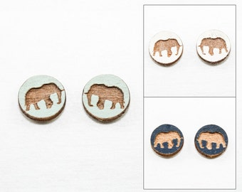 Elephant Earrings - Laser Cut Wooden Studs (Choose Your Color)