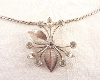 Vintage Rhinestone Silvertone Leaf Necklace by Krementz