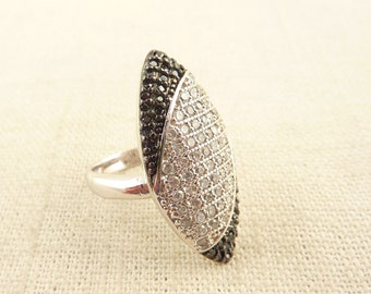 SALE ---- Size 6 Vintage Sterling Large Marquise Shaped Ring with White and Black Pavé Rhinestones