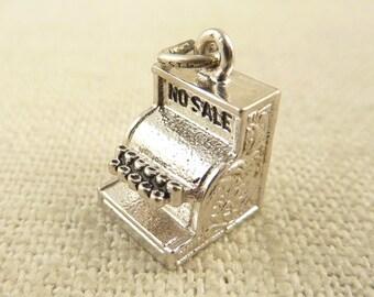"""SALE ---- Vintage Sterling """"No Sale"""" Old Fashioned Cash Register Charm"""