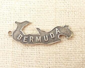 Vintage Sterling Bermuda Island Shaped Souvenir Charm