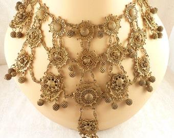Vintage Indo-Craft Brass Filigree Etruscan Style Bib Necklace